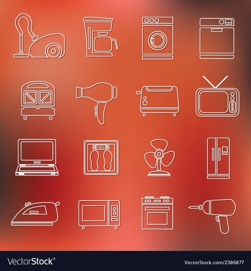 Home appliance outline icons vector | Price: 1 Credit (USD $1)