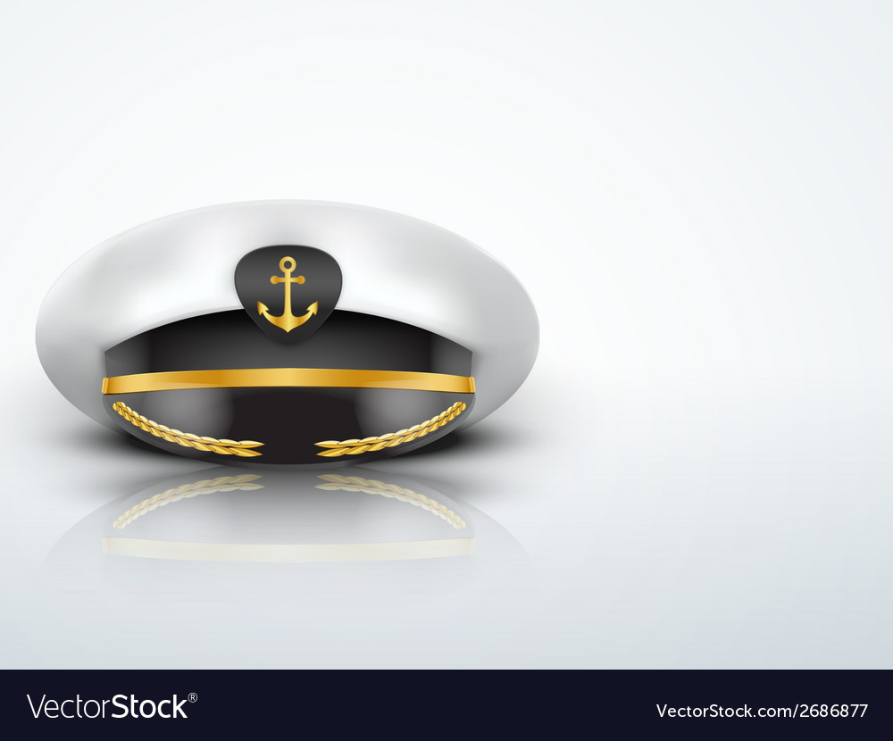 Light background captain peaked cap with gold vector | Price: 1 Credit (USD $1)