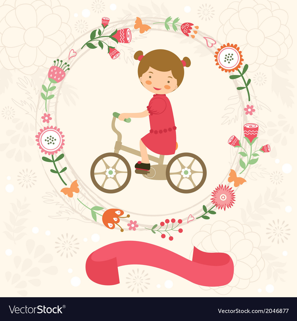 Little girl on bycicle vector | Price: 1 Credit (USD $1)