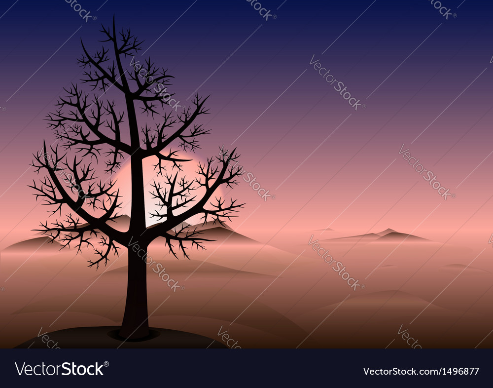 Lonely tree sunset mountains vector | Price: 1 Credit (USD $1)
