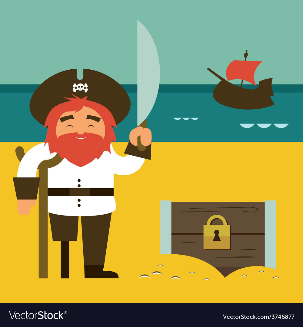 Pirate with chest vector | Price: 1 Credit (USD $1)