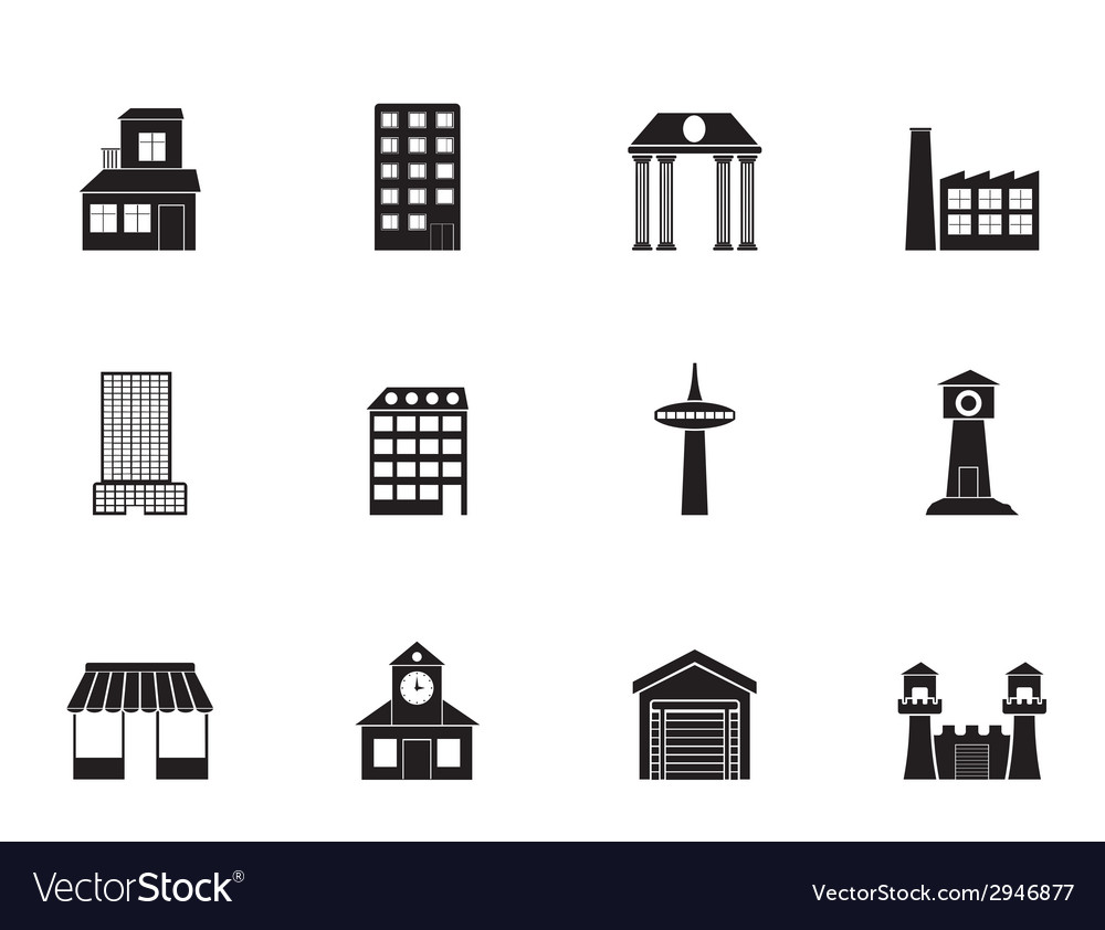 Silhouette different kind of building and city vector | Price: 1 Credit (USD $1)