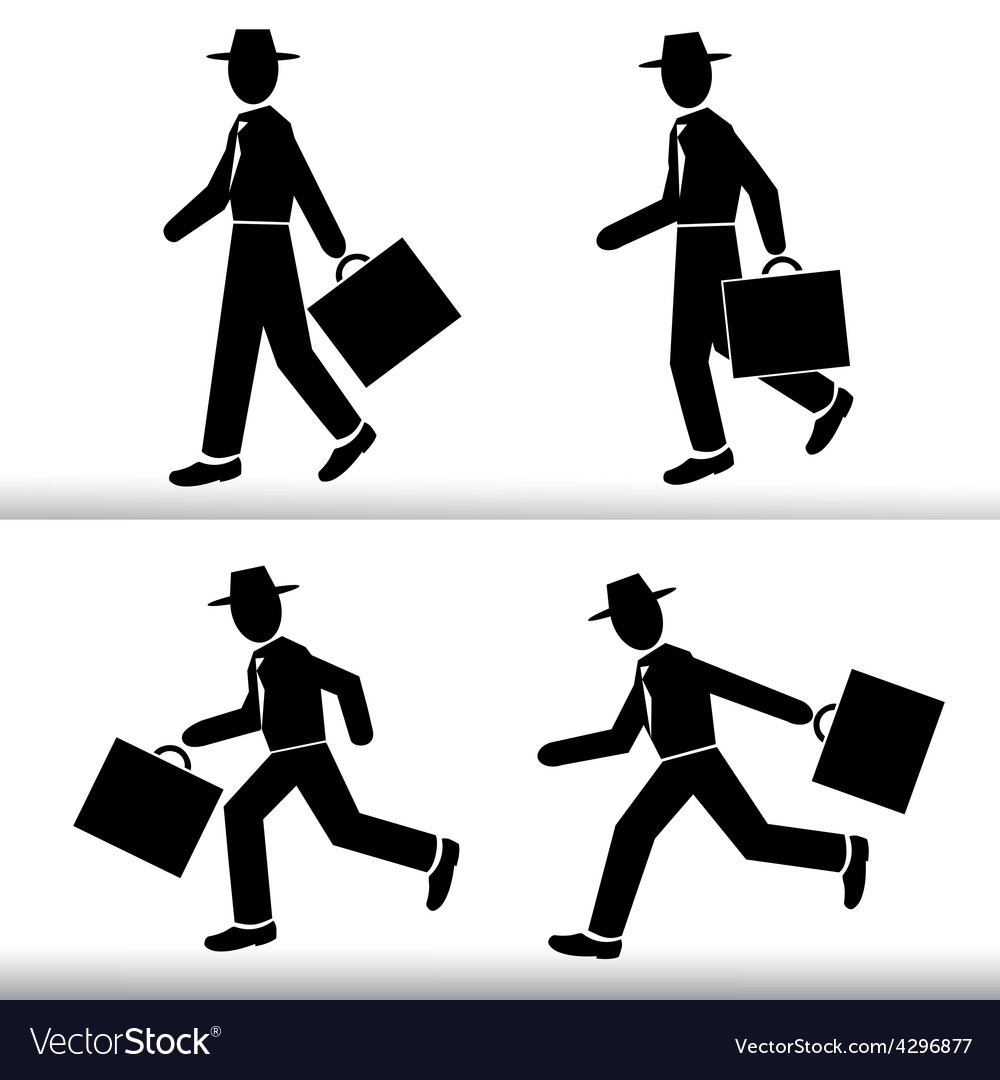 Silhouette walking and running businessman vector | Price: 1 Credit (USD $1)