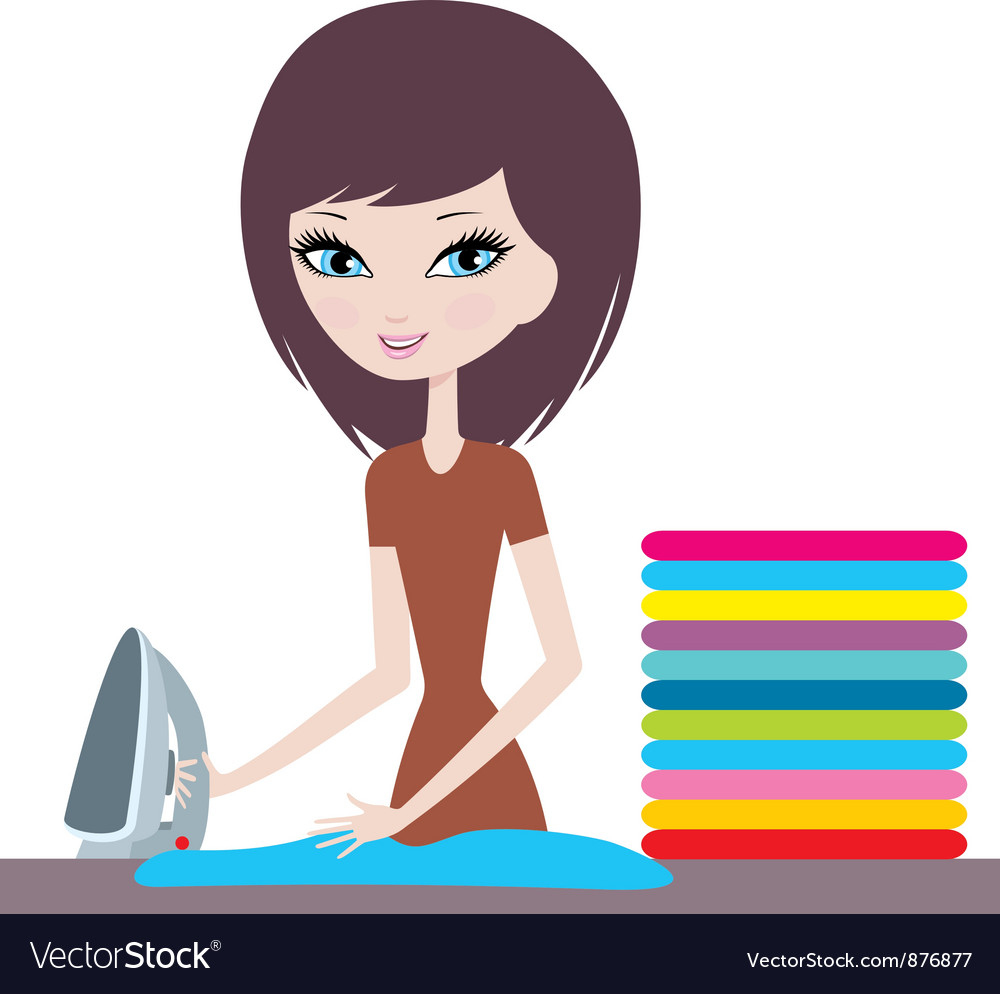 Young cartoon woman irons clothes vector | Price: 1 Credit (USD $1)