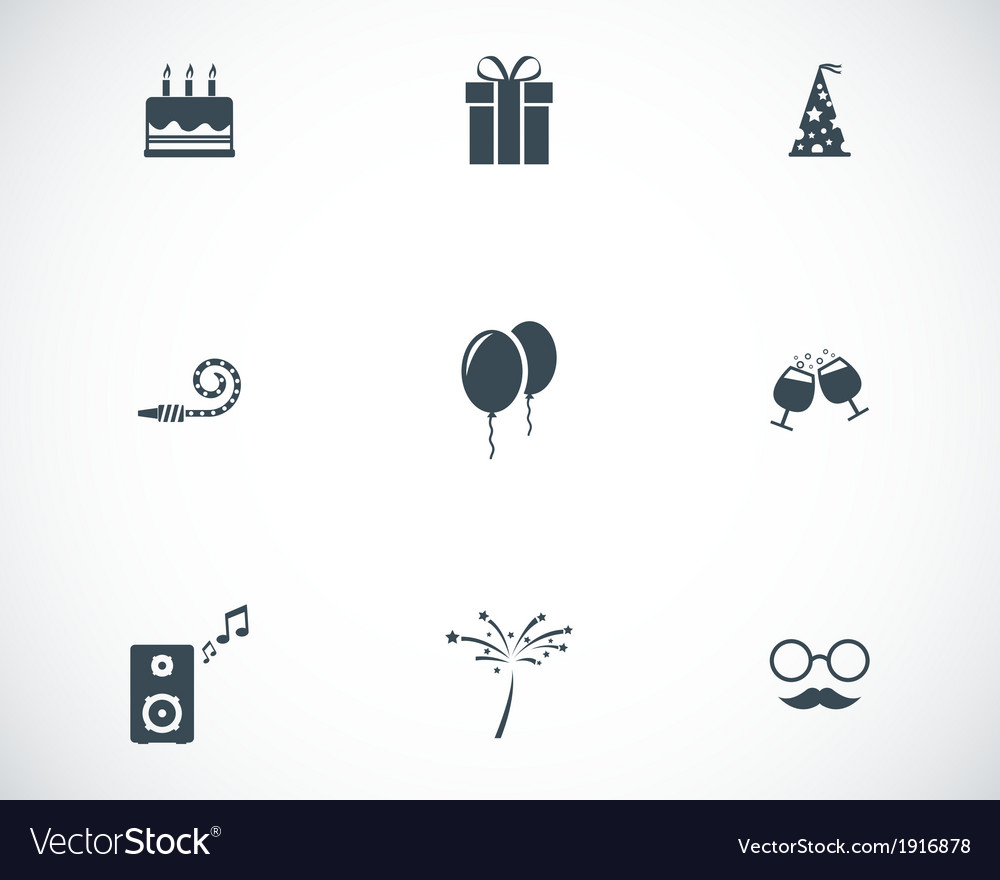 Black birthday icons set vector | Price: 1 Credit (USD $1)