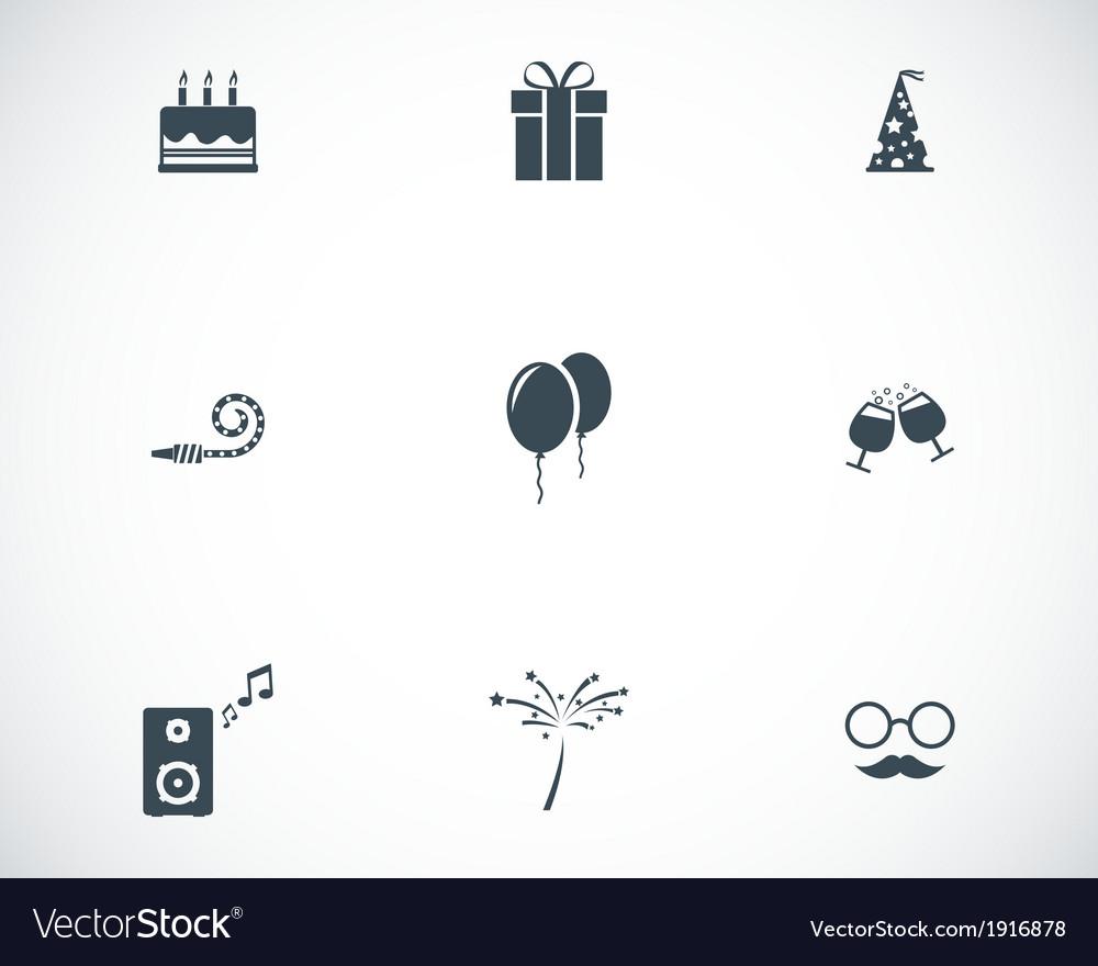 Black birthday icons set vector