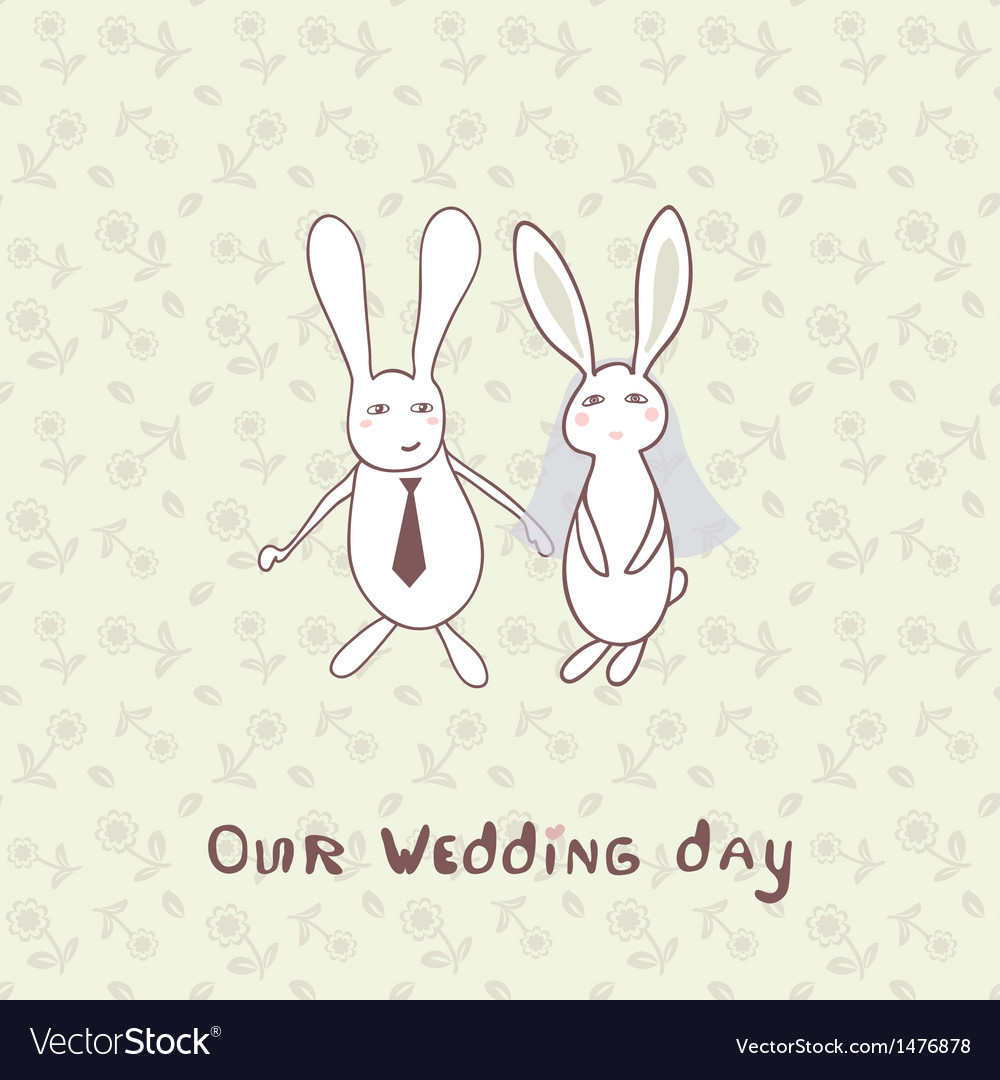 Bridal shower invitation with two cute rabbits in vector | Price: 1 Credit (USD $1)