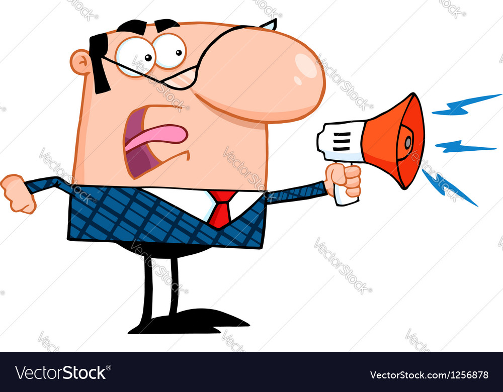 Business manager speaking through a megaphone vector | Price: 1 Credit (USD $1)