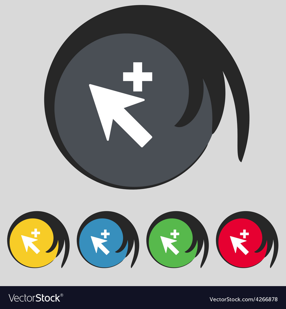 Cursor arrow plus add icon sign symbol on five vector | Price: 1 Credit (USD $1)