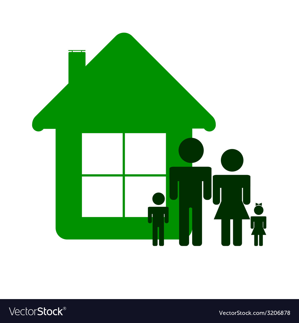 Green house and family color vector | Price: 1 Credit (USD $1)
