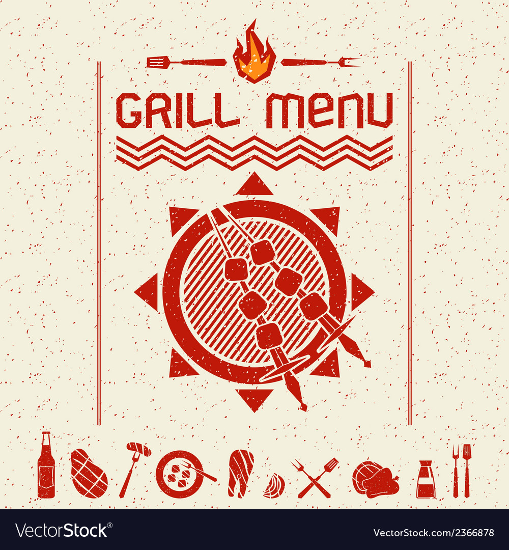 Grill menu emblem and icons dark red vector | Price: 1 Credit (USD $1)