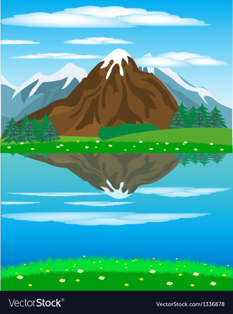 Landscape with mountain oi river vector | Price: 1 Credit (USD $1)