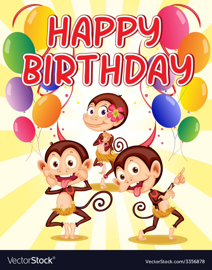 Monkey birthday vector | Price: 3 Credit (USD $3)