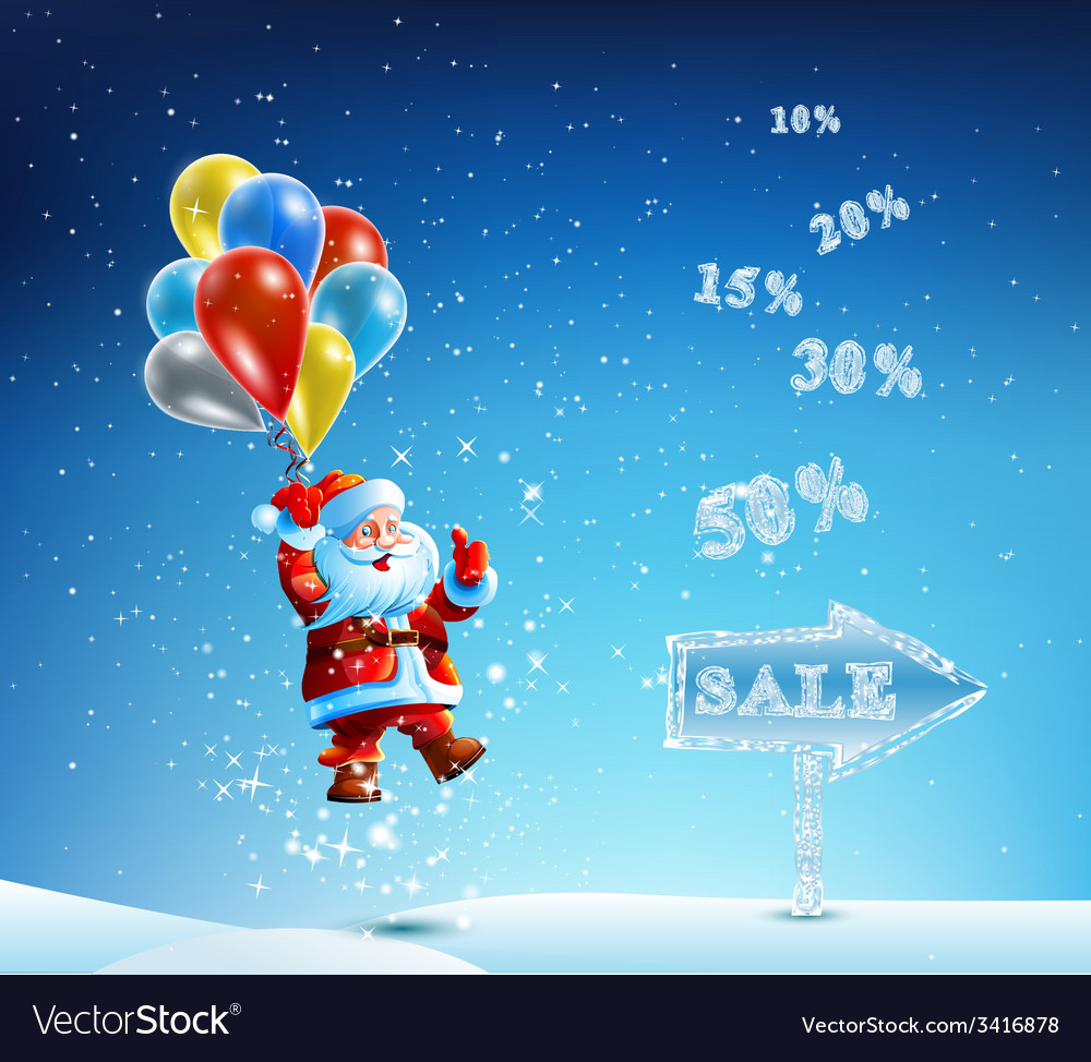 Santa claus in a hurry to sell and discounts vector | Price: 3 Credit (USD $3)