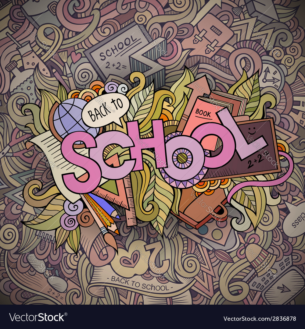 School cartoon hand lettering and doodles elements vector | Price: 1 Credit (USD $1)