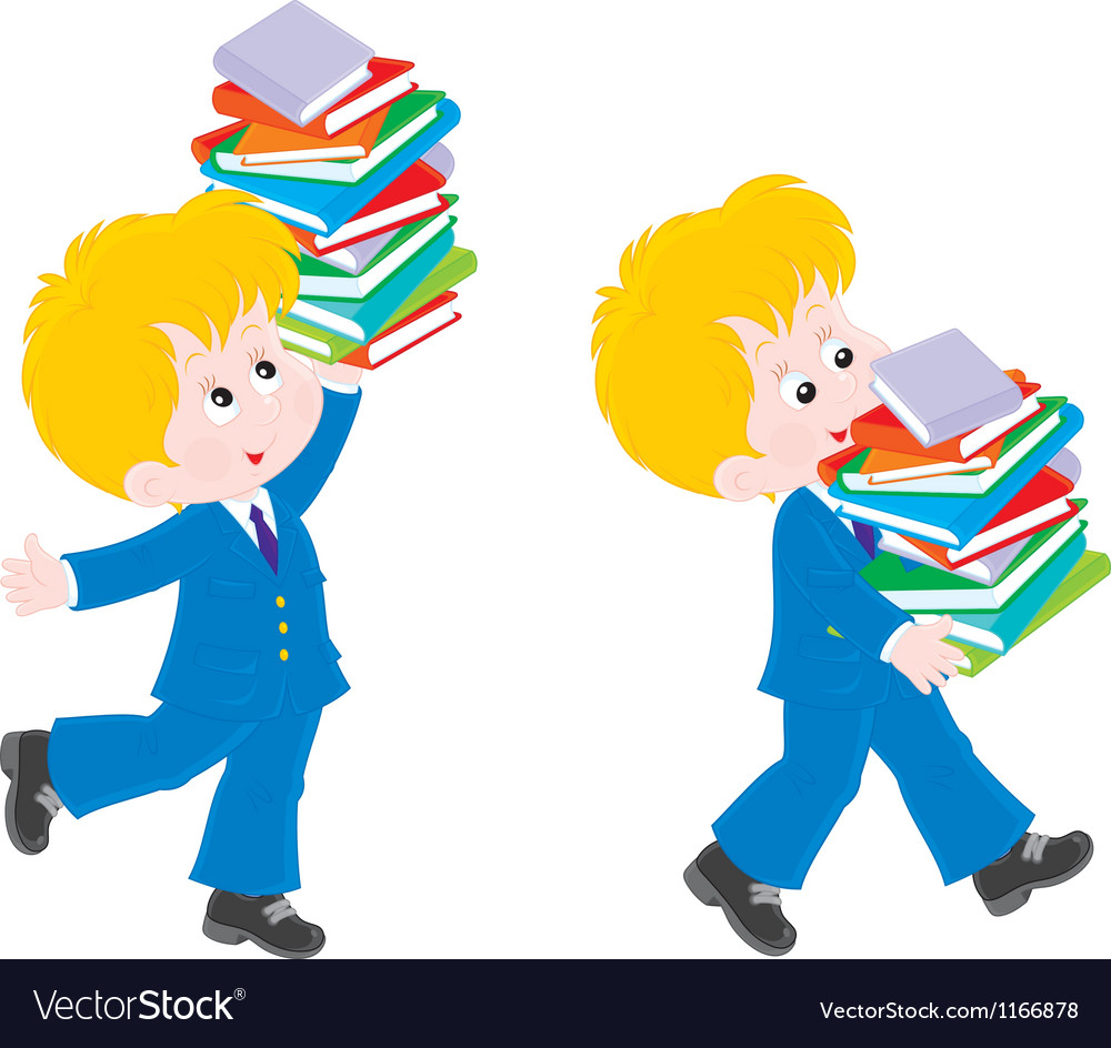 Schoolboy with textbooks vector | Price: 3 Credit (USD $3)