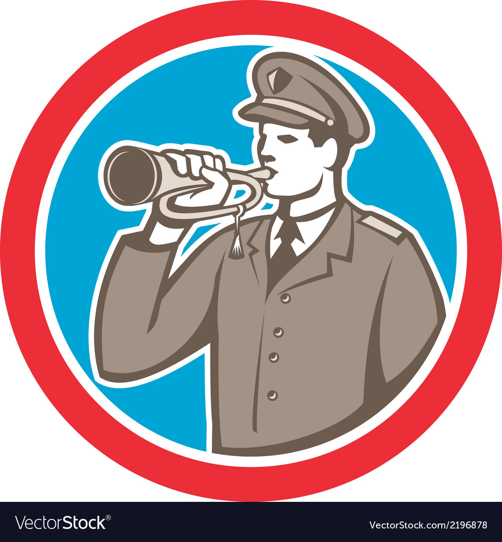 Soldier blowing bugle circle retro vector | Price: 1 Credit (USD $1)