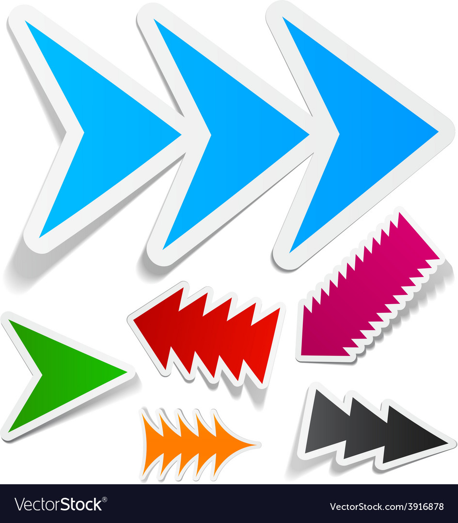 Toothy arrows sticker set vector | Price: 1 Credit (USD $1)
