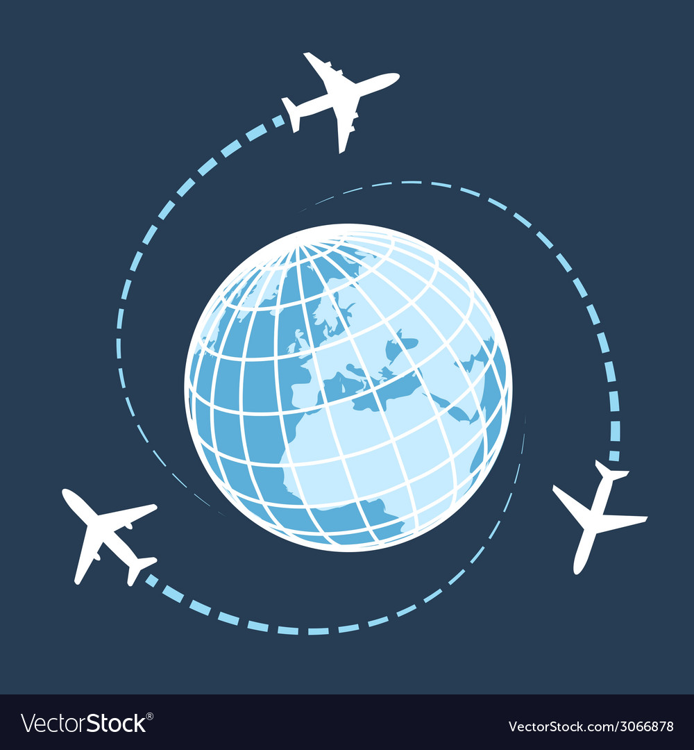 Traveling around the world by air transport vector | Price: 1 Credit (USD $1)