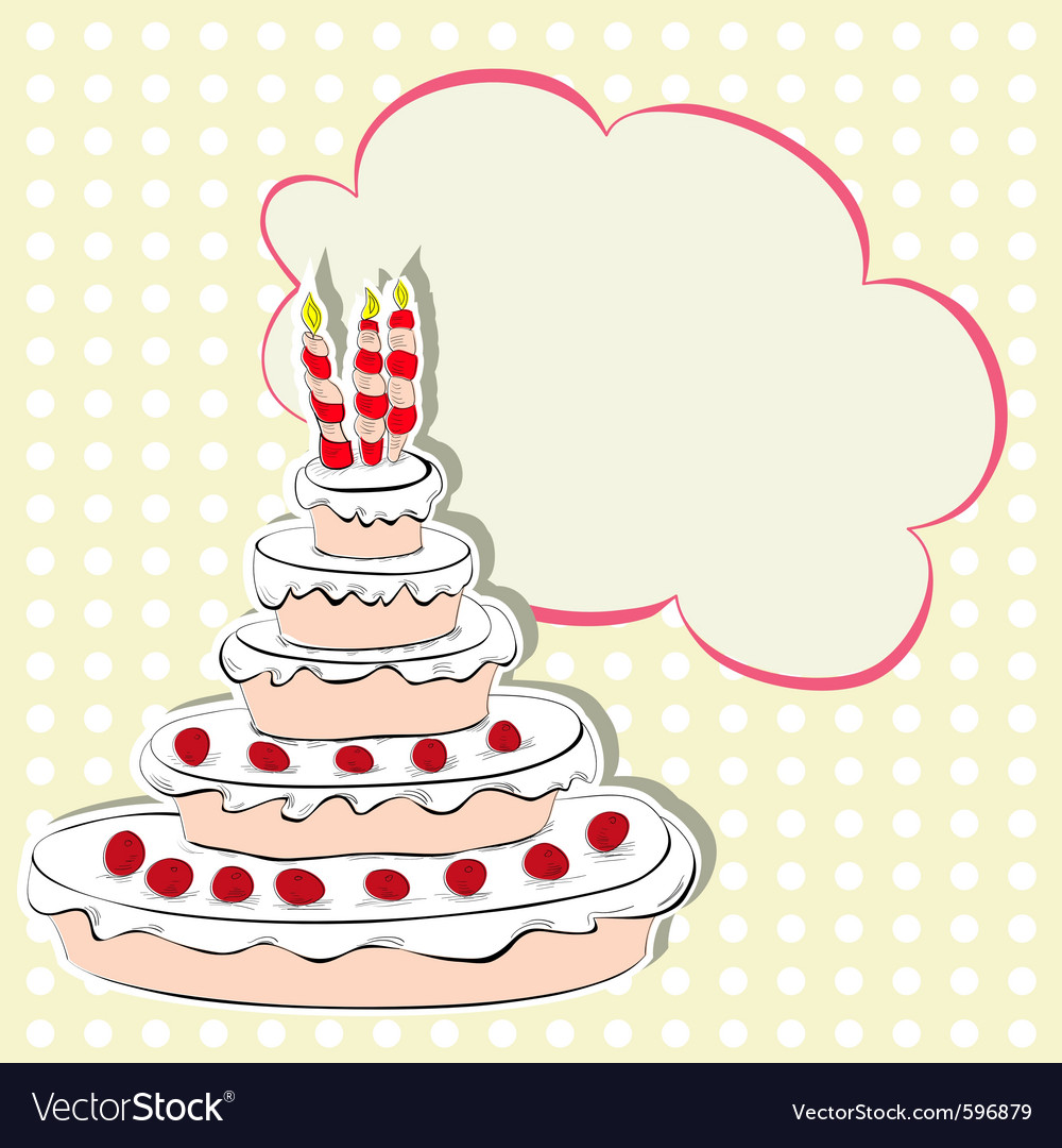 Card with cake vector | Price: 1 Credit (USD $1)
