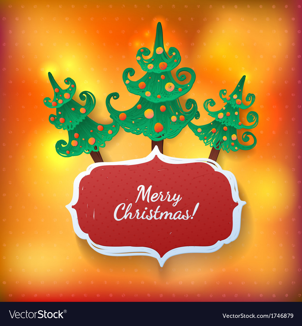 Christmas tree bright greeting card vector | Price: 1 Credit (USD $1)
