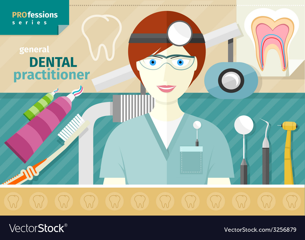 Dentist in uniform with instrument on workplace vector | Price: 1 Credit (USD $1)