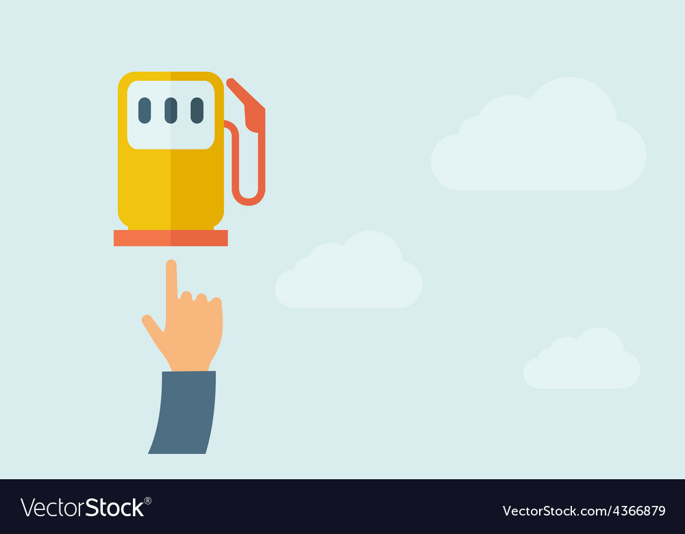 Hand pointing to gasoline pump vector | Price: 1 Credit (USD $1)