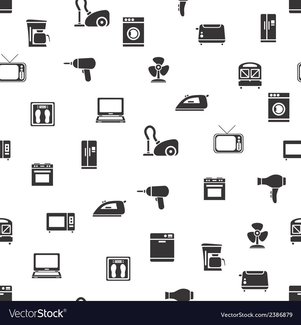 Home appliance seamless pattern vector | Price: 1 Credit (USD $1)