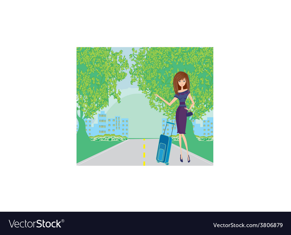 Pretty young woman hitchhiking along a road vector | Price: 1 Credit (USD $1)
