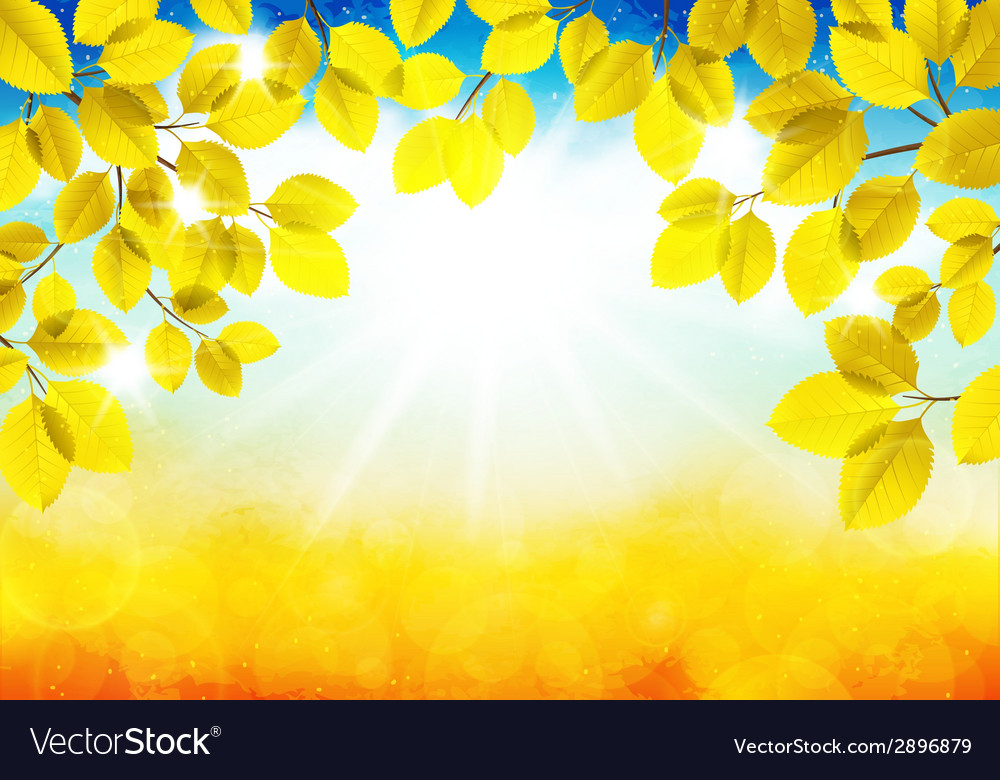 Sunny autumn landscape vector | Price: 1 Credit (USD $1)