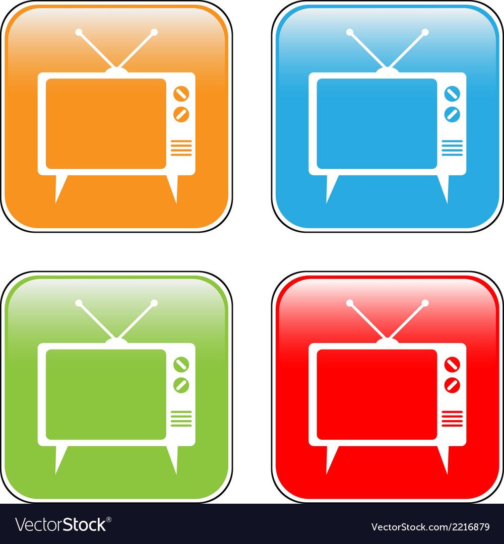 Tv button set vector | Price: 1 Credit (USD $1)