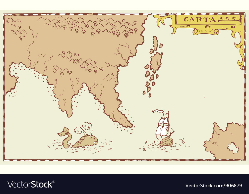 Vintage map treasure island vector | Price: 3 Credit (USD $3)