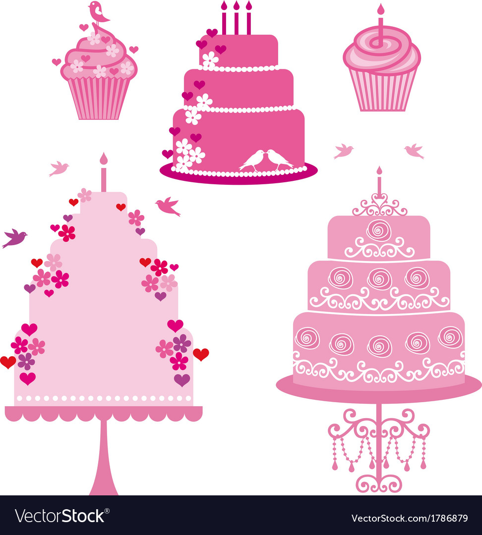 Wedding and birthday cakes vector | Price: 1 Credit (USD $1)