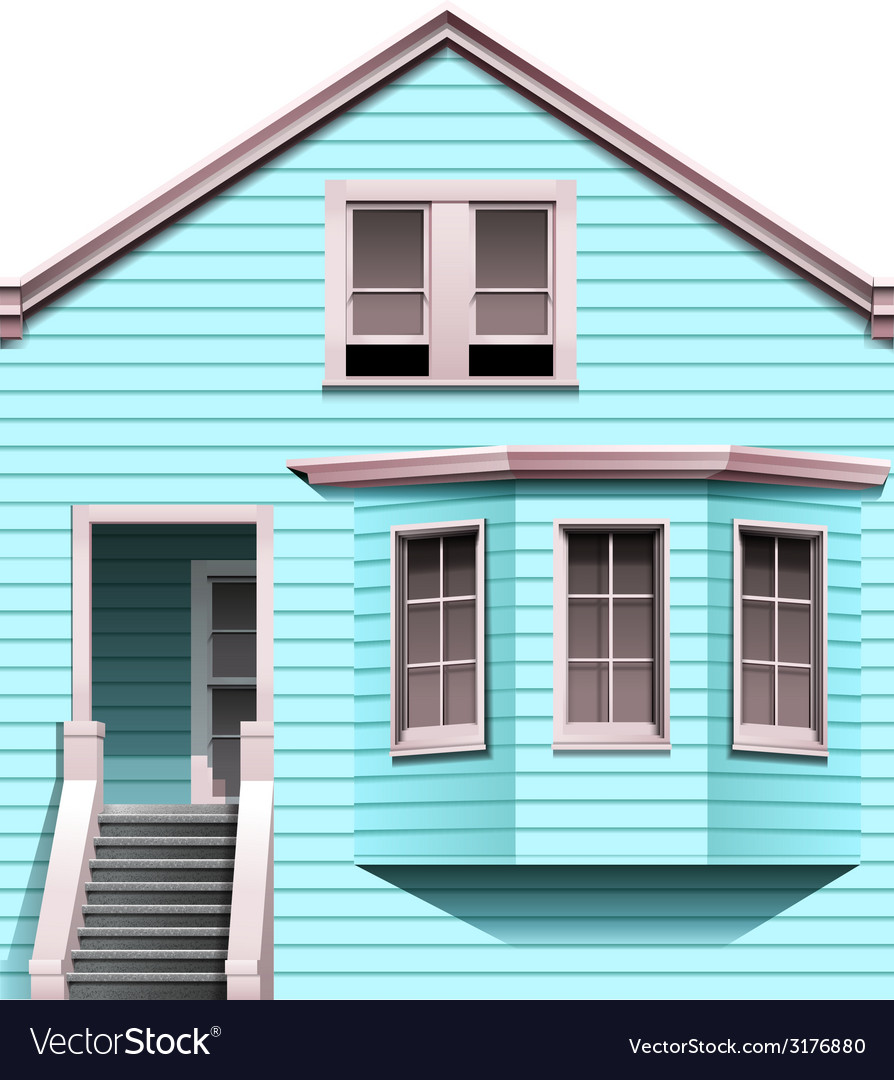 A blue concrete house with a stair vector | Price: 3 Credit (USD $3)