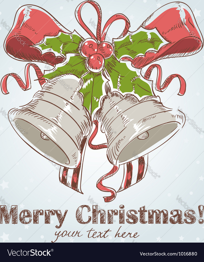 Christmas hand drawn retro postcard vector | Price: 1 Credit (USD $1)