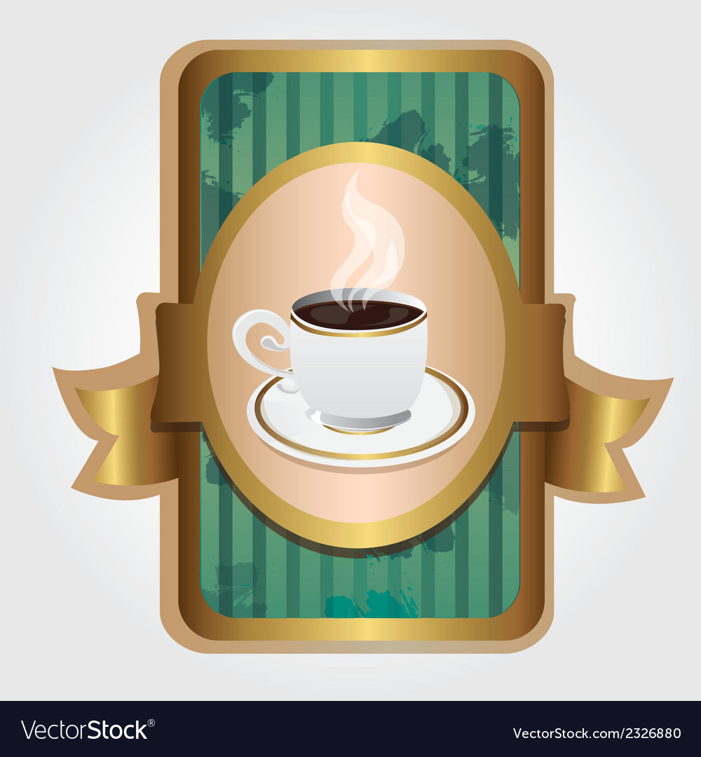 Coffee cup on label vintage turquoise and gold vector | Price: 1 Credit (USD $1)