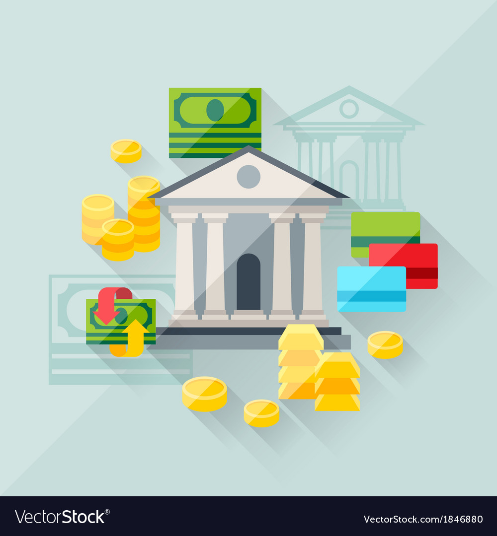 Concept of banking in flat design style vector | Price: 1 Credit (USD $1)