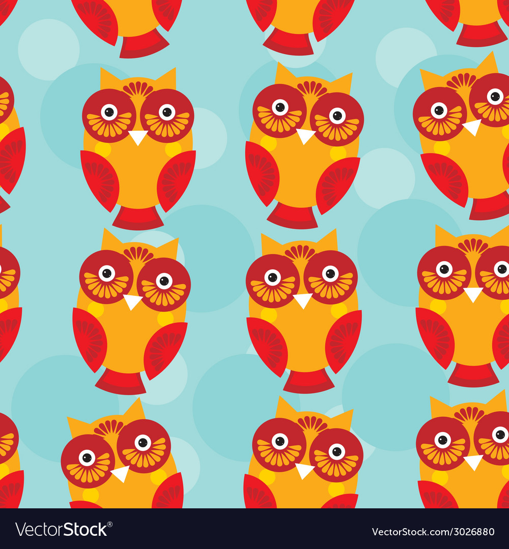 Cute seamless pattern with owl on a blue vector   Price: 1 Credit (USD $1)