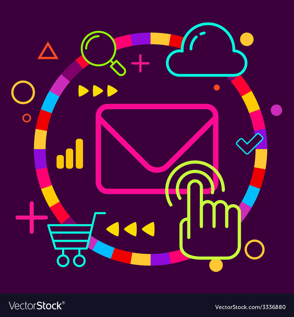Envelope on abstract colorful geometric dark vector   Price: 3 Credit (USD $3)