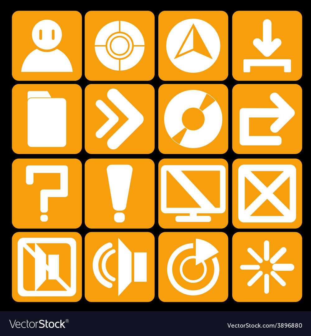 Icon technology orange vector | Price: 1 Credit (USD $1)