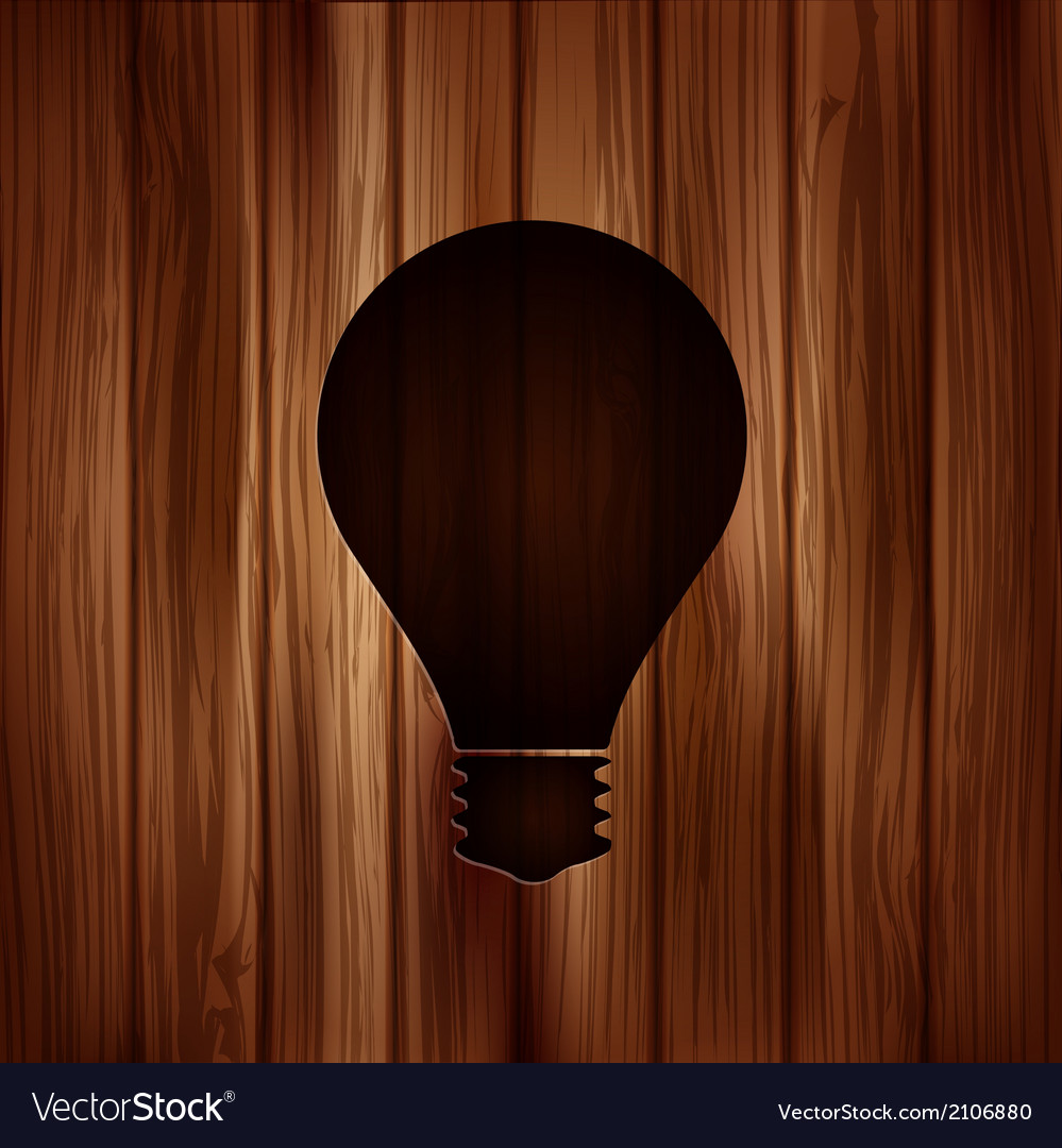 Light bulb icon wooden texture vector | Price: 1 Credit (USD $1)