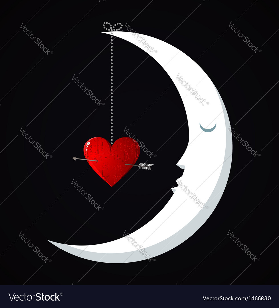 Moon valentines day background vector | Price: 1 Credit (USD $1)