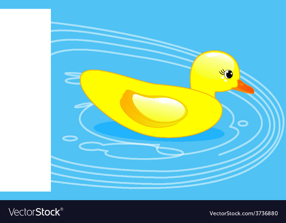 Rubber duck in blue water vector | Price: 1 Credit (USD $1)