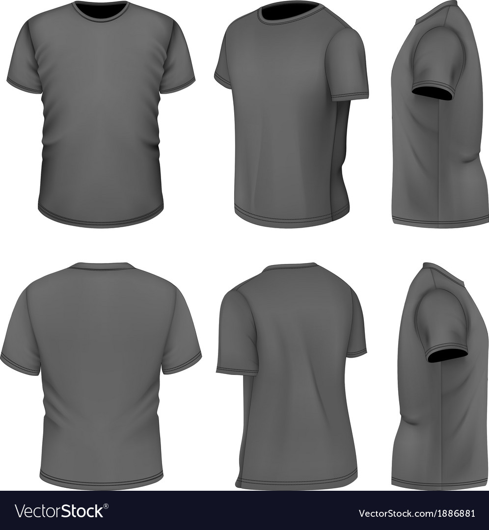 All six views mens black short sleeve t-shirt vector | Price: 1 Credit (USD $1)