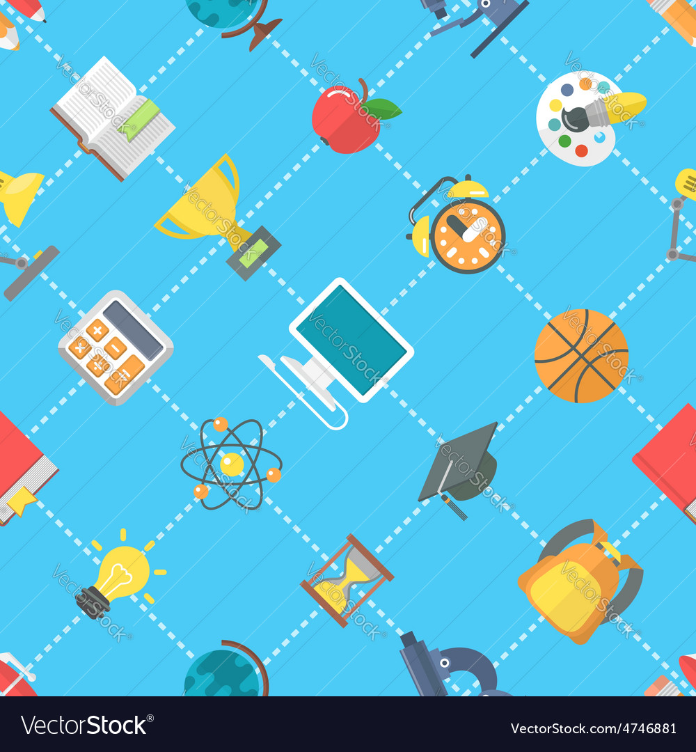 Flat school icons seamless pattern vector | Price: 1 Credit (USD $1)
