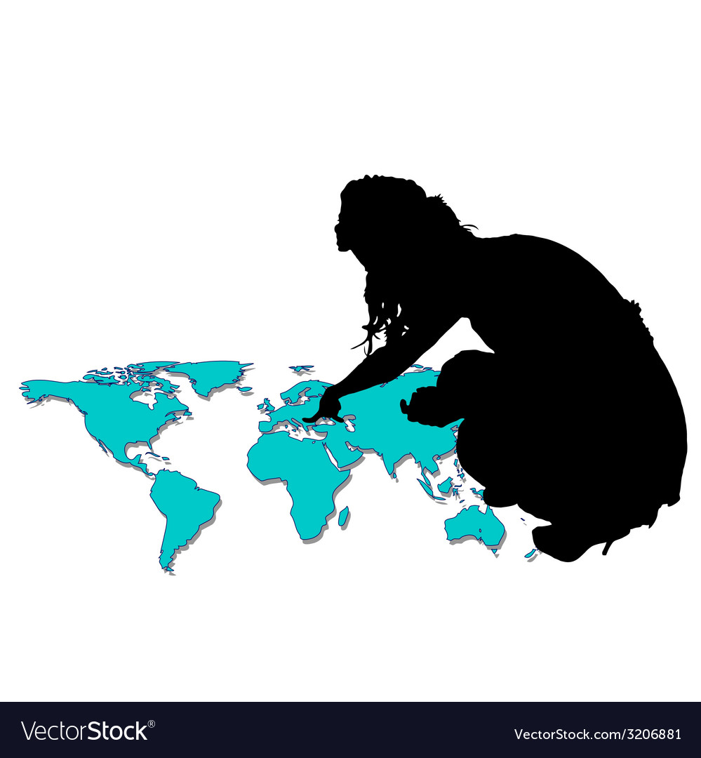 Girl pointing to world map vector   Price: 1 Credit (USD $1)
