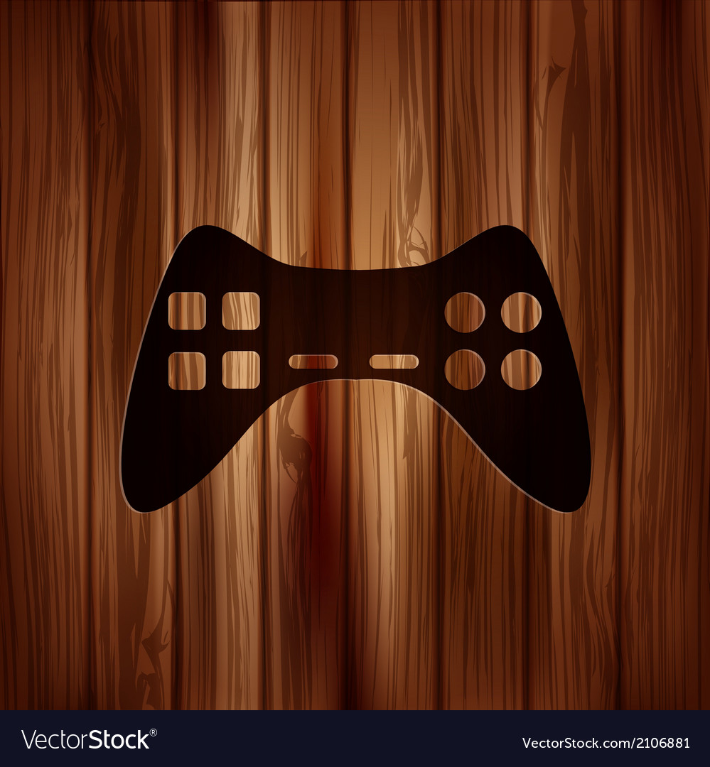 Joystick web icon wooden texture vector | Price: 1 Credit (USD $1)