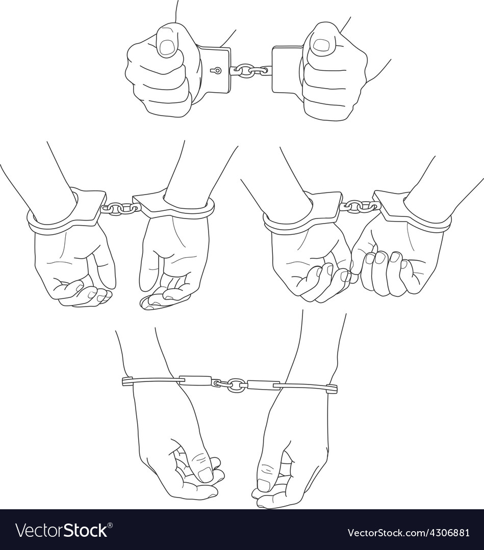 Man hands with handcuffs vector | Price: 1 Credit (USD $1)