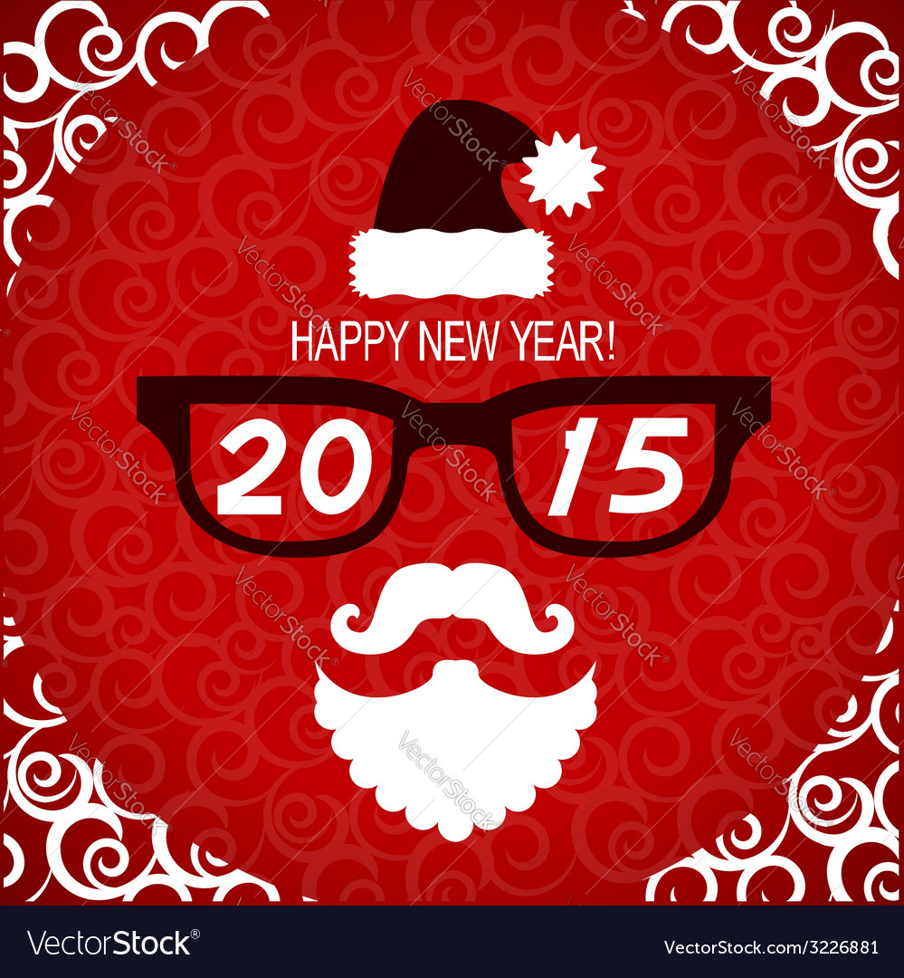 New year hipster greeting card with santa vector