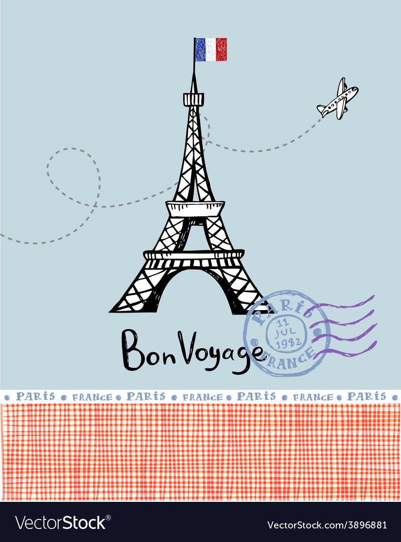 Paris post card vector | Price: 1 Credit (USD $1)